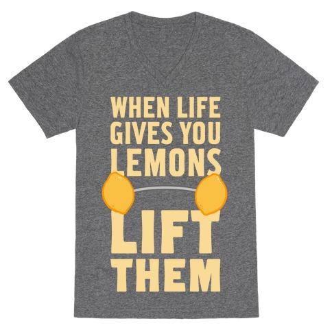 When Life Gives You Lemons, Lift Them! V-Neck Tee Shirt