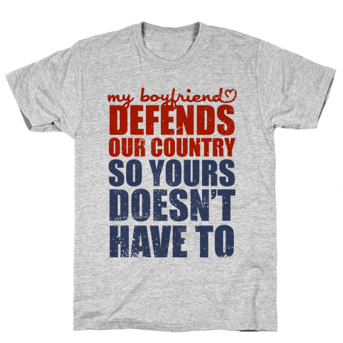 My Boyfriend Defends Our Country (Military Baseball Tee) Mens T-Shirt