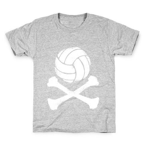 Volleyball and Crossbones (White Vintage) Kids T-Shirt