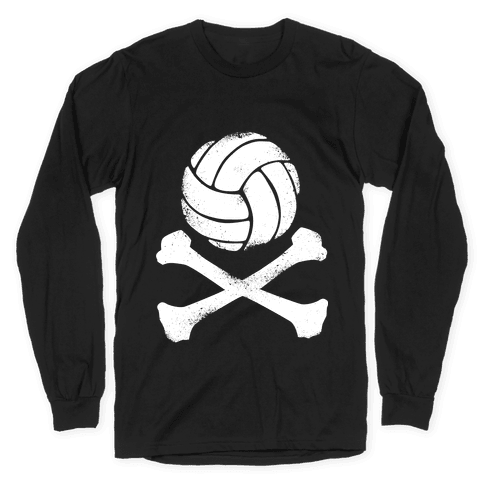 Volleyball and Crossbones (White Vintage) Long Sleeve T-Shirt