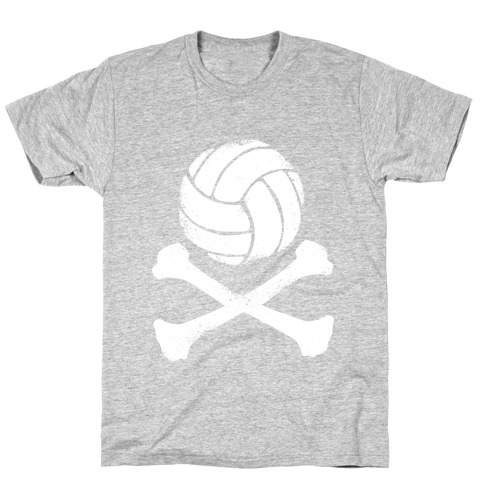 Volleyball and Crossbones (White Vintage) Mens/Unisex T-Shirt