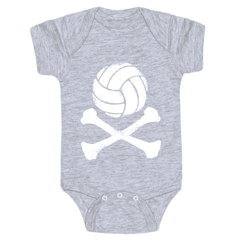 Volleyball and Crossbones (White Vintage) Baby Onesy