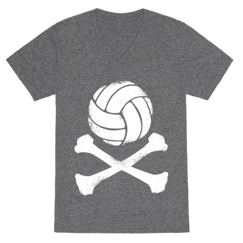 Volleyball and Crossbones (White Vintage) V-Neck Tee Shirt