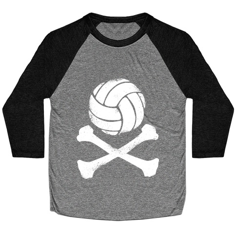 Volleyball and Crossbones (White Vintage) Baseball Tee