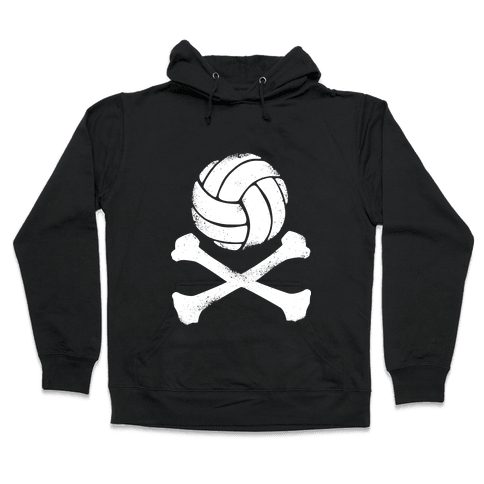 Volleyball and Crossbones (White Vintage) Hooded Sweatshirt