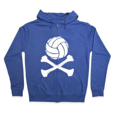Volleyball and Crossbones (White Vintage) Zip Hoodie