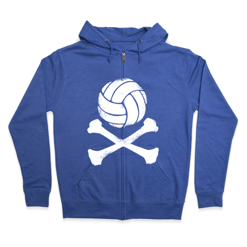 Volleyball and Crossbones (White Vintage) Zip Hoodie