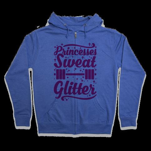Princesses Sweat Glitter Zip Hoodie