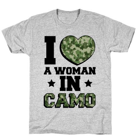 I Love A Woman In Camo (Military Baseball Tee) T-Shirt