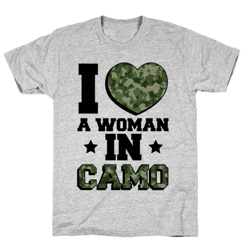 I Love A Woman In Camo (Military Baseball Tee) Mens T-Shirt