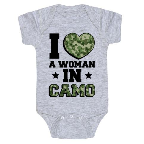 I Love A Woman In Camo (Military Baseball Tee) Baby Onesy