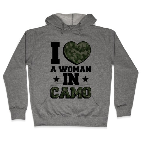 I Love A Woman In Camo (Military Baseball Tee) Hooded Sweatshirt