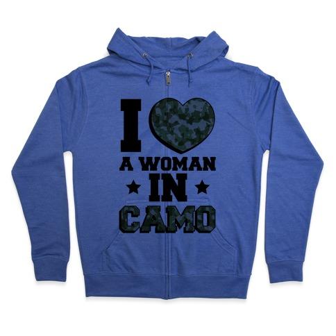 I Love A Woman In Camo (Military Baseball Tee) Zip Hoodie