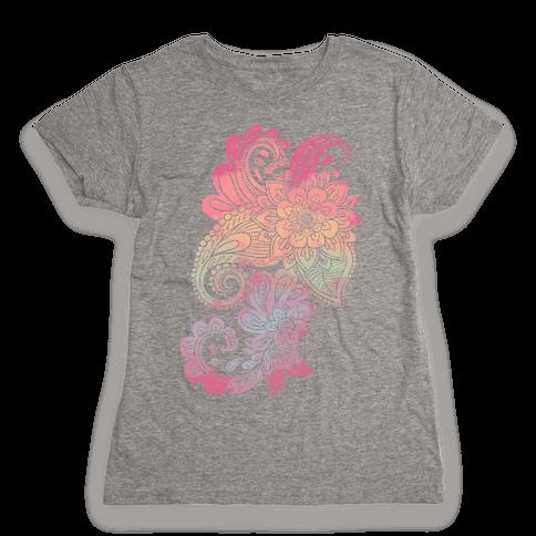 Rainbow Lotus Henna Inspiration Womens T-Shirt