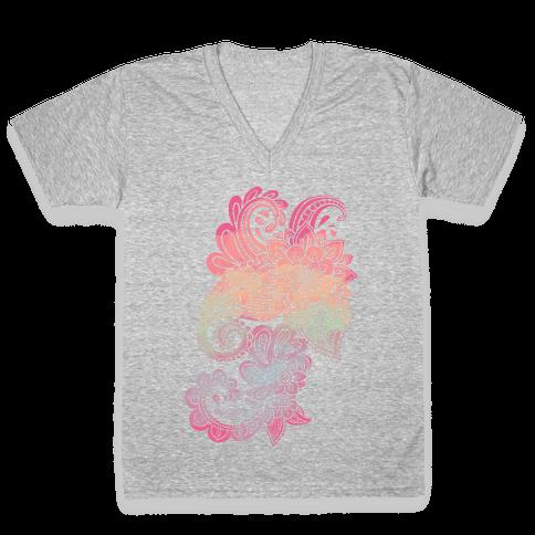 Rainbow Lotus Henna Inspiration V-Neck Tee Shirt