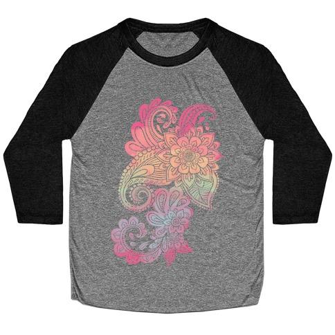 Rainbow Lotus Henna Inspiration Baseball Tee