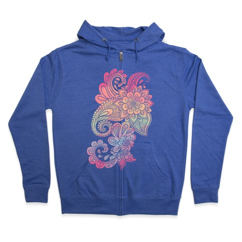 Rainbow Lotus Henna Inspiration Zip Hoodie
