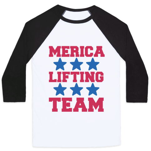 Merica Lifting Team Baseball Tee