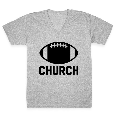 Football Church V-Neck Tee Shirt