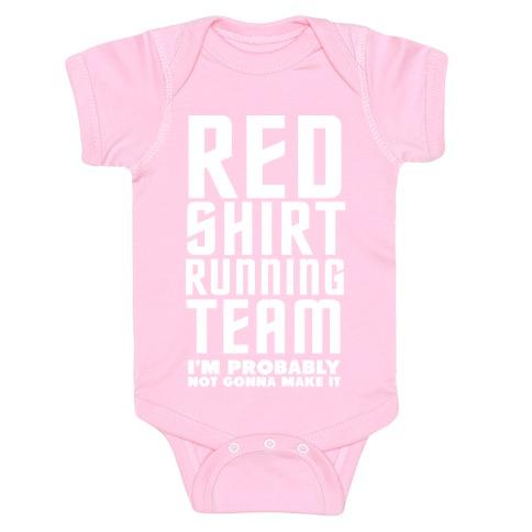 Red Shirt Running Team Baby Onesy