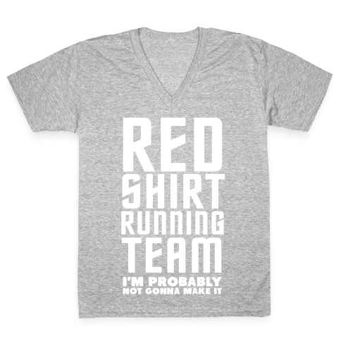 Red Shirt Running Team V-Neck Tee Shirt