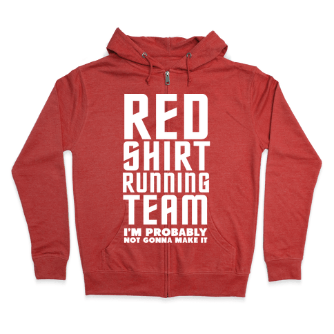 Red Shirt Running Team Zip Hoodie