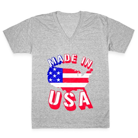 Made In USA (Patriotic Tank) V-Neck Tee Shirt
