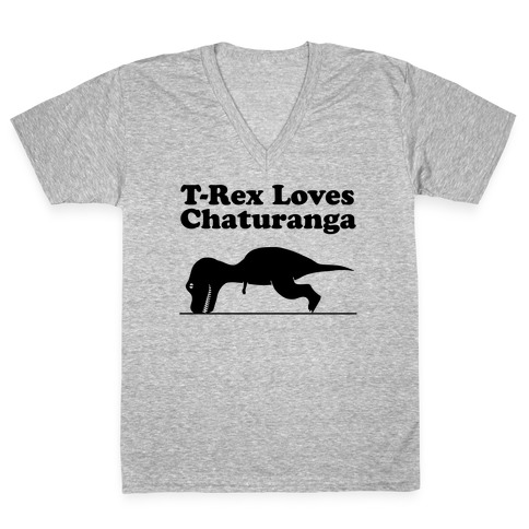 T-Rex Loves Chaturanga V-Neck Tee Shirt