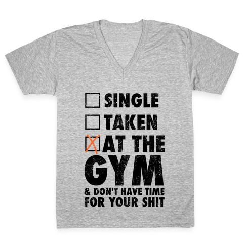 At The Gym & Don't Have Time For Your Shit V-Neck Tee Shirt