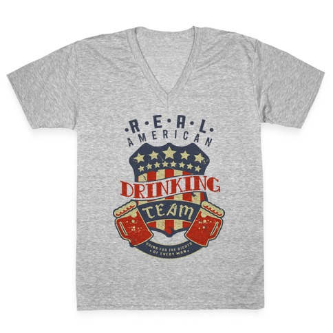 Real American Drinking Team V-Neck Tee Shirt