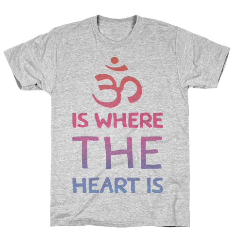 Om Is Where The Heart Is Mens T-Shirt
