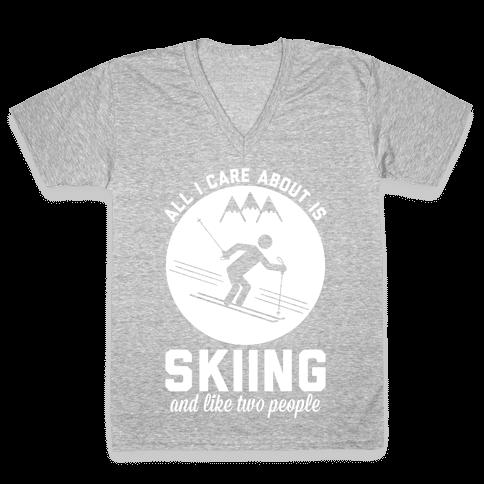 Skiing and Like Two People V-Neck Tee Shirt