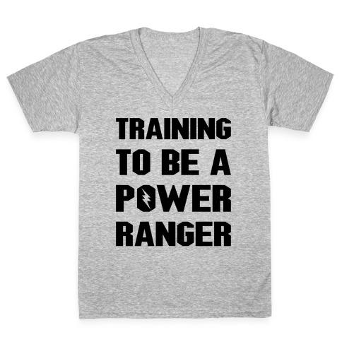 Training To Be A Power Ranger Parody V-Neck Tee Shirt