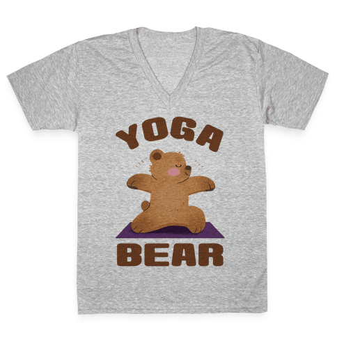 Yoga Bear V-Neck Tee Shirt