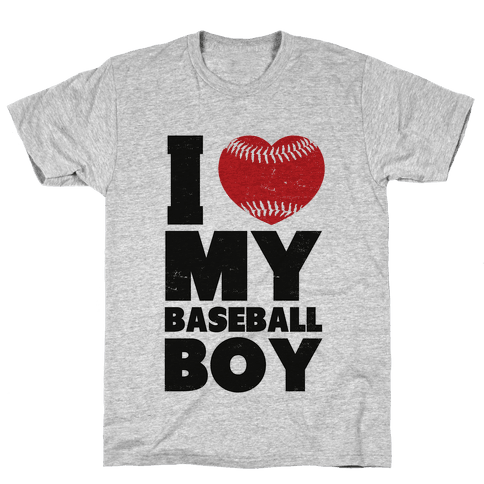 I Love My Baseball Boy Mens T-Shirt