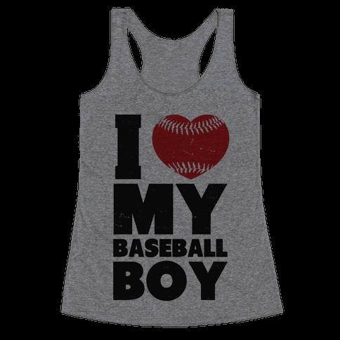 I Love My Baseball Boy Racerback Tank Top