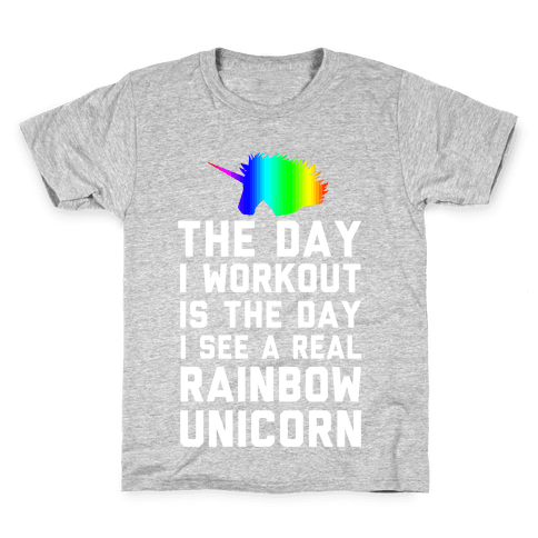 The Day I Workout is The Day I See a Rainbow Unicorn Kids T-Shirt