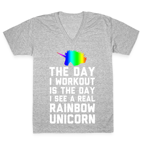 The Day I Workout is The Day I See a Rainbow Unicorn V-Neck Tee Shirt