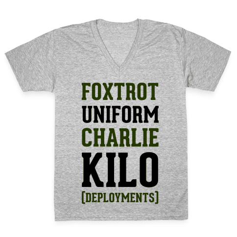 Foxtrot Uniform Charlie Kilo (Deployments) V-Neck Tee Shirt