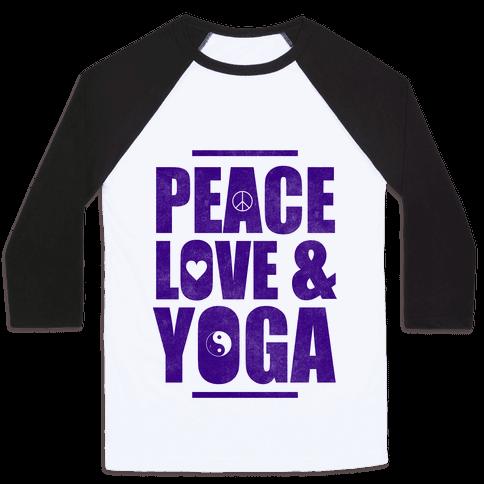 Peace Love & Yoga Baseball Tee