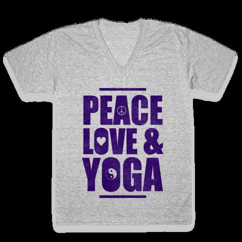 Peace Love & Yoga V-Neck Tee Shirt