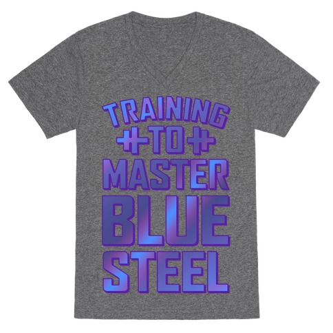 Training to Master Blue Steel V-Neck Tee Shirt
