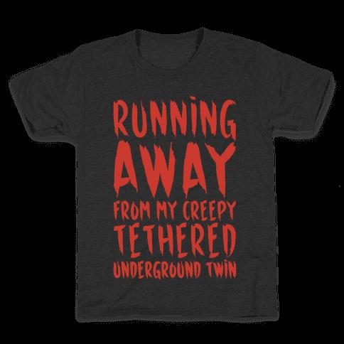 Running Away From My Creepy Tethered Underground Twin White Print Kids T-Shirt