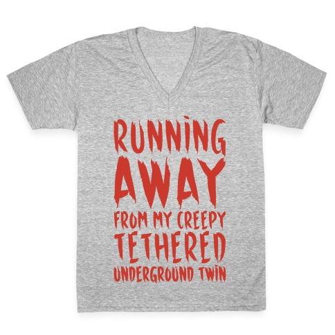 Running Away From My Creepy Tethered Underground Twin White Print V-Neck Tee Shirt