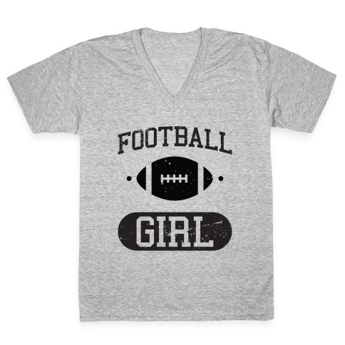Football Girl V-Neck Tee Shirt