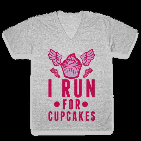 I Run (For Cupcakes) V-Neck Tee Shirt