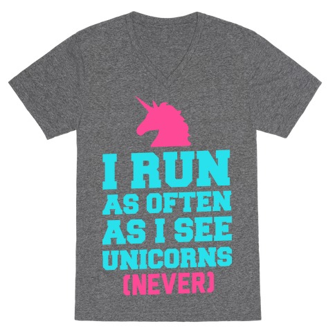 I Workout as Often as I See Unicorns V-Neck Tee Shirt