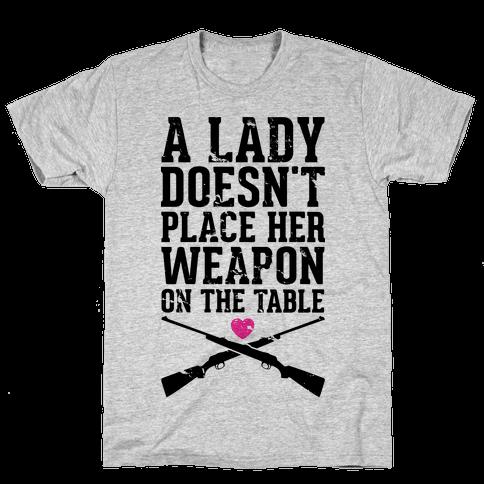 No Weapons at the Table Mens T-Shirt