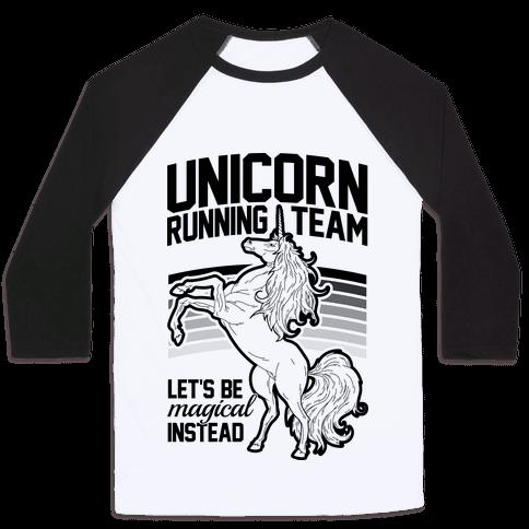 Unicorn Running Team Baseball Tee