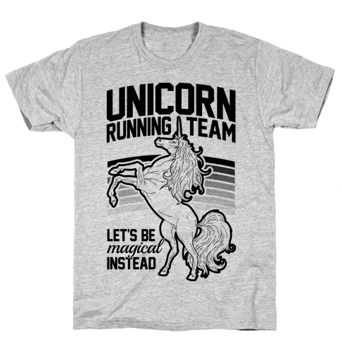 Unicorn Running Team Mens T-Shirt